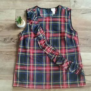 J. CREW Holiday Plaid Ruffle TOP